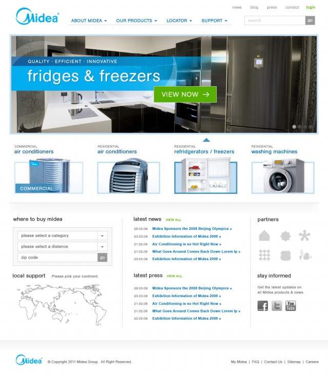 Midea Website Home