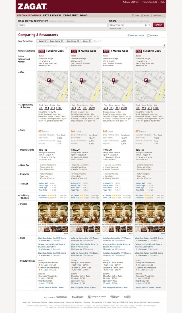 Zagat Restaurant Comparison Search Results