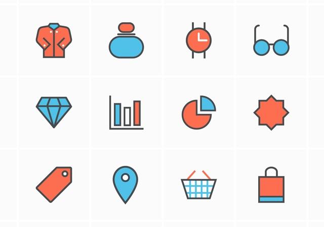 Outline Shopping Vector Icon Set