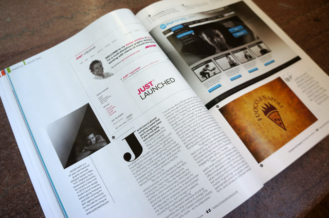 Just Creative website featured, as well as Flywheel & Fuoco di Napoli.