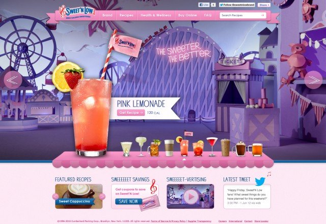 Sweet'N Low Website Home Page