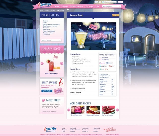 Sweet'N Low Website Sub Page