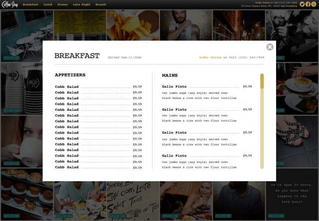 Website Menu Page for 'Coffee Shop' Union Square, NYC