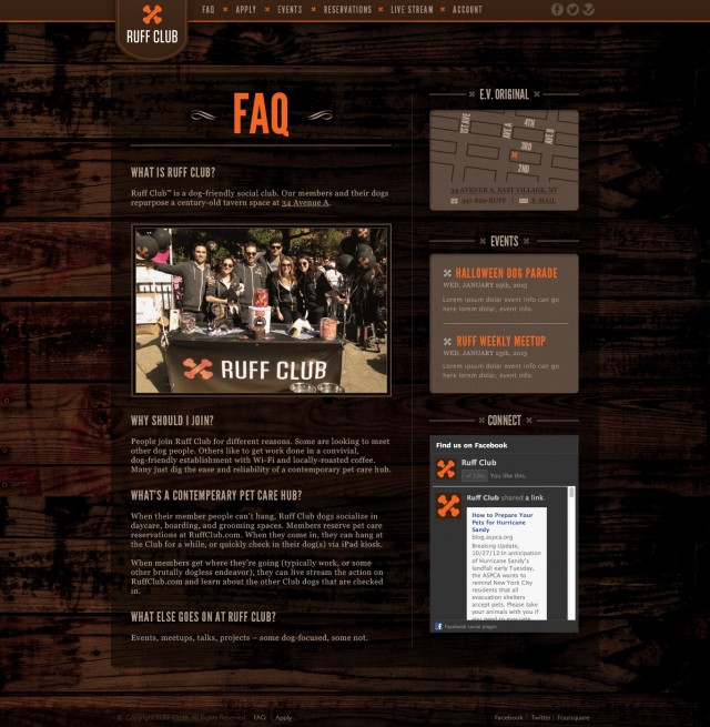 Ruff Club Website FAQ Page