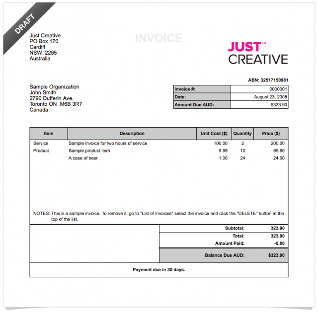 How To Invoice Effectively To Avoid Poor Cash Flow JUST Creative - Invoice 50