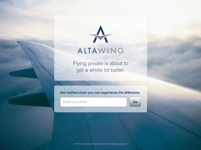 The AltaWing Website Pre-Launch Landing Page