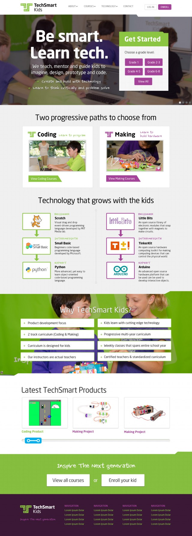 TechSmart Kids Website Home Page