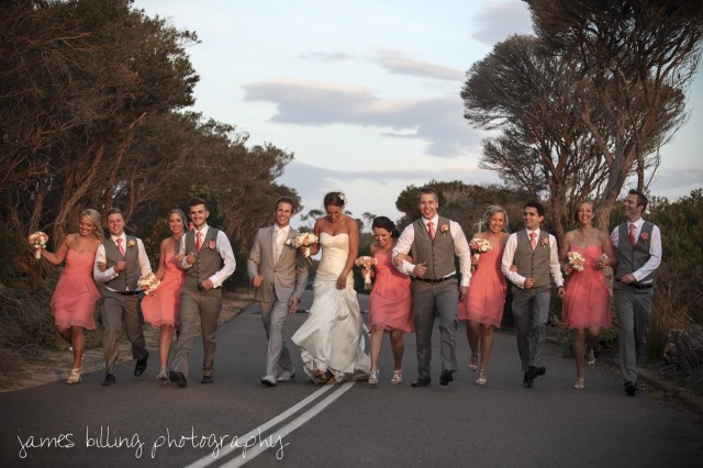 The Bridal Party having a skip.