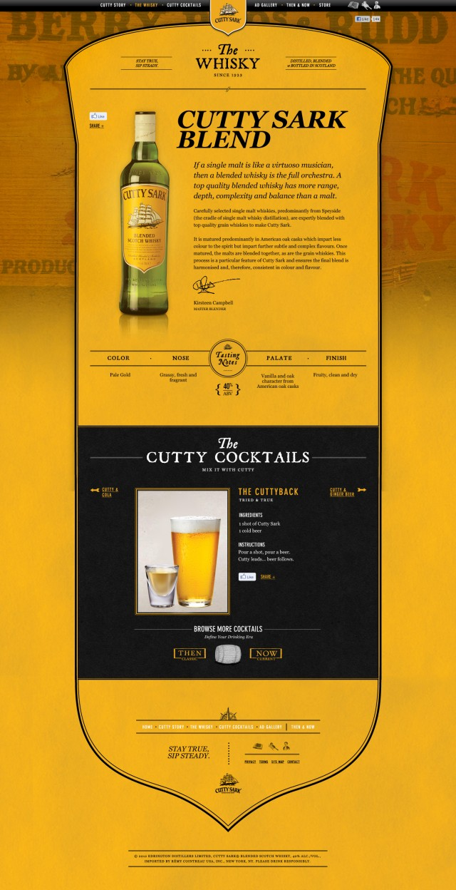Cutty Sark Whisky Page