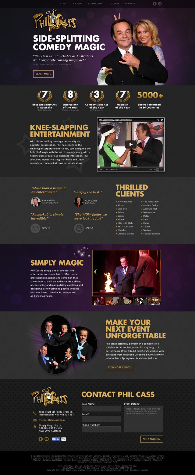 Phil Cass Comedy Magician Website