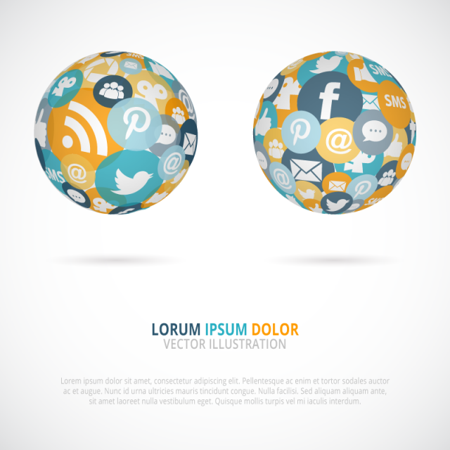 3D Social Media Globe Networking Free Stock Image / Vector EPS