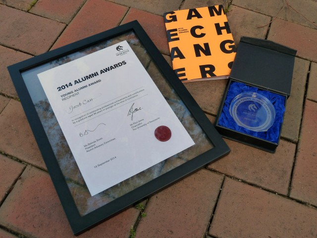 The award certificate, program and award.