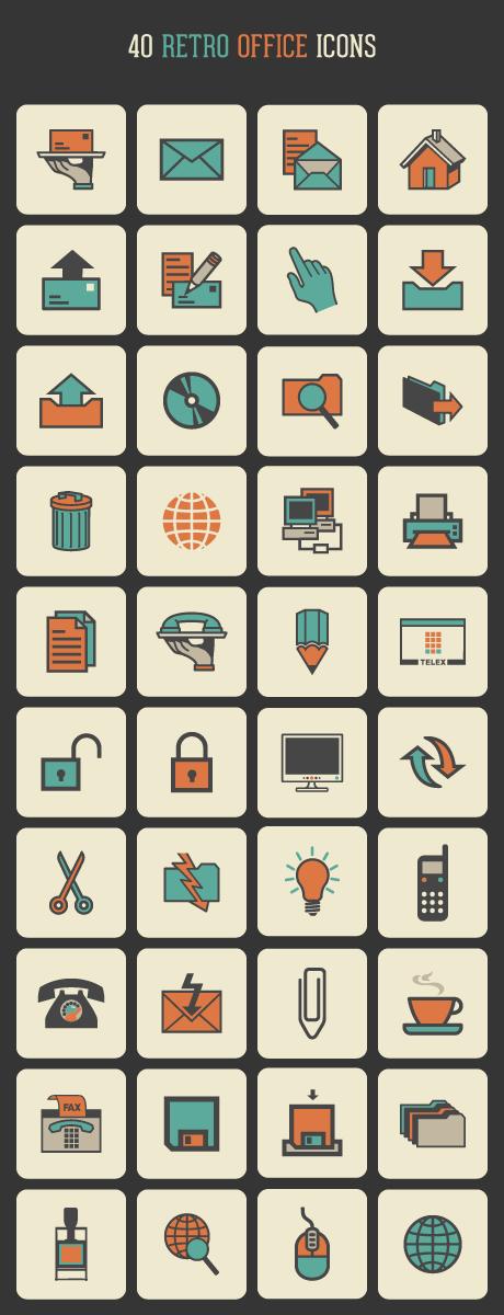 Retro Office Icon Set