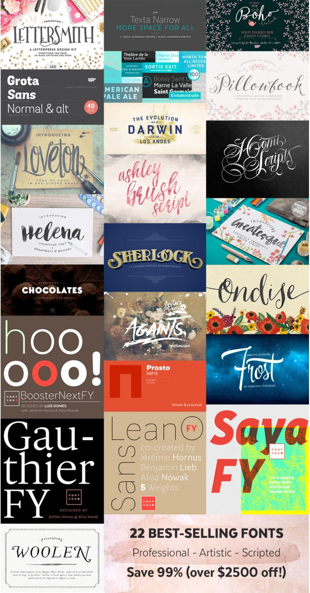22 Professional fonts at 99% off