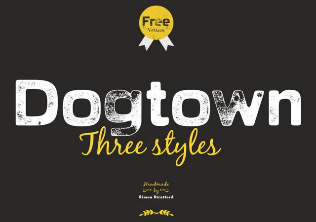 Dogtown Letterpress Textured Font Experiment