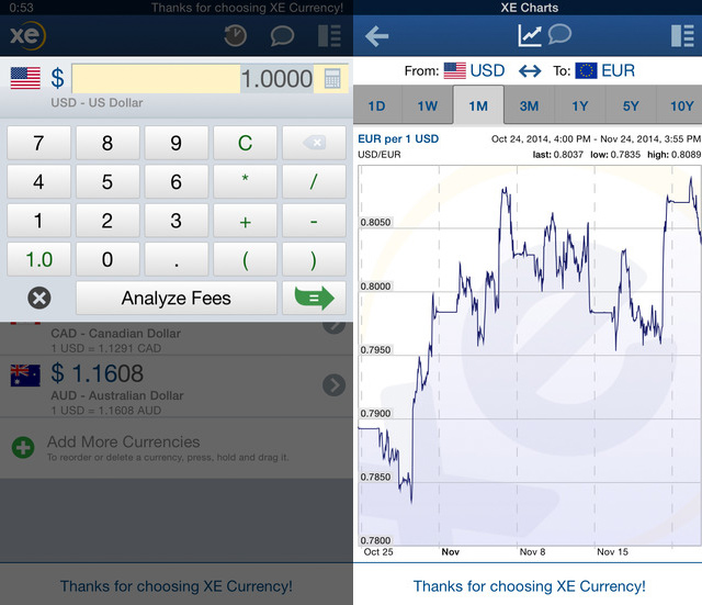XE Currency iPhone App