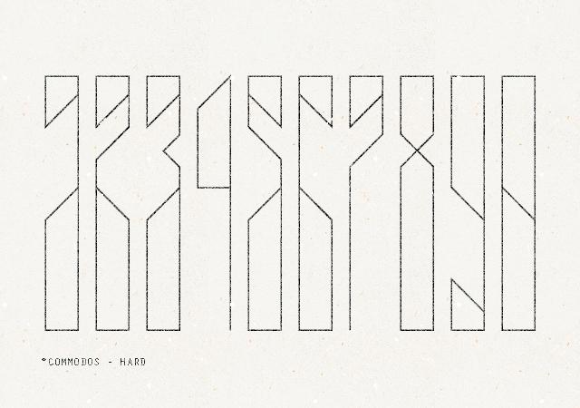 Commodos: a Free Futuristic Numerals Font