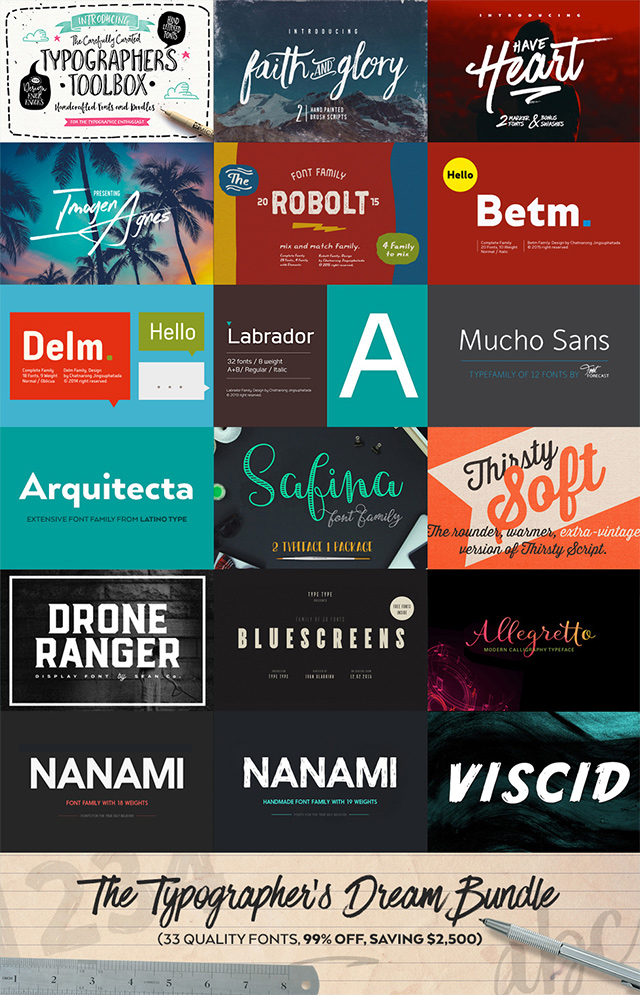 The Typographer's Dream Bundle 33 Pro Fonts For 99% Off