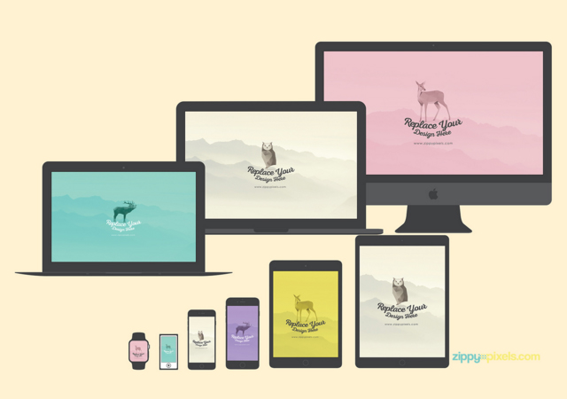24 Apple Devices Flat Mockups Set