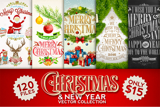 100 Premium Christmas & New Year Vectors - Only $15!