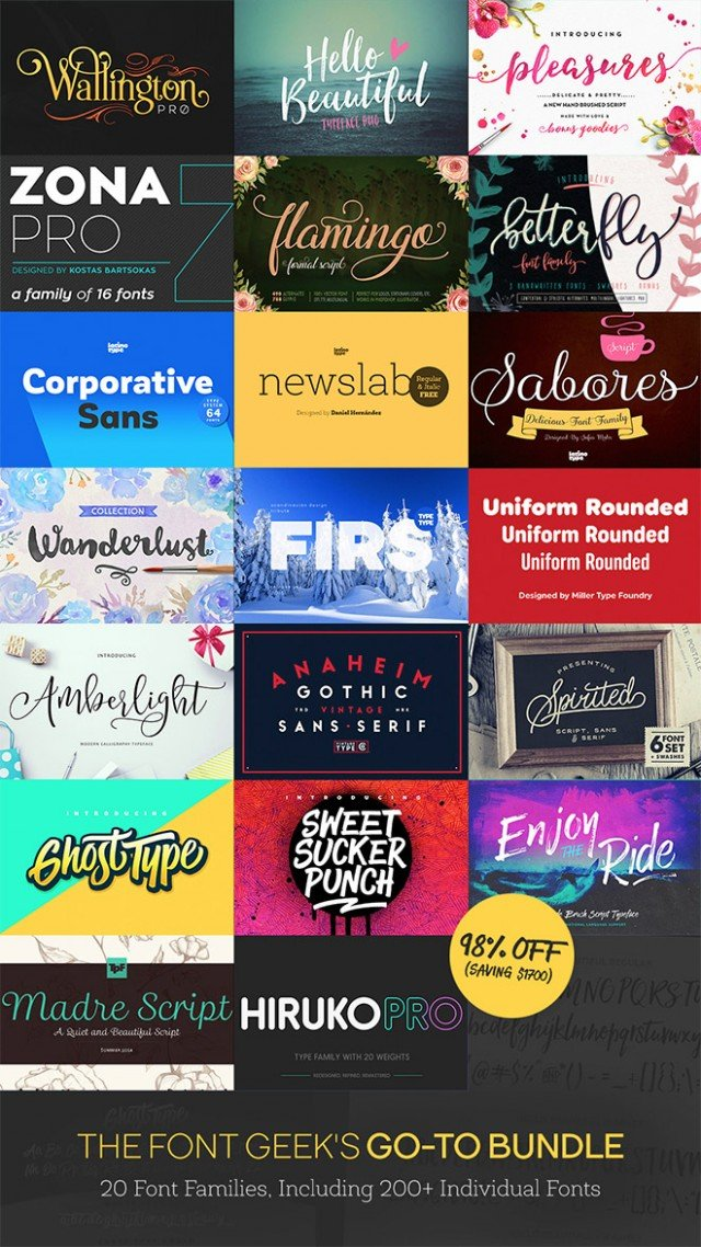 20 Font Families, 200 Individual Fonts (Worth $1,721) Just $29