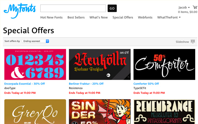 MyFonts Deal