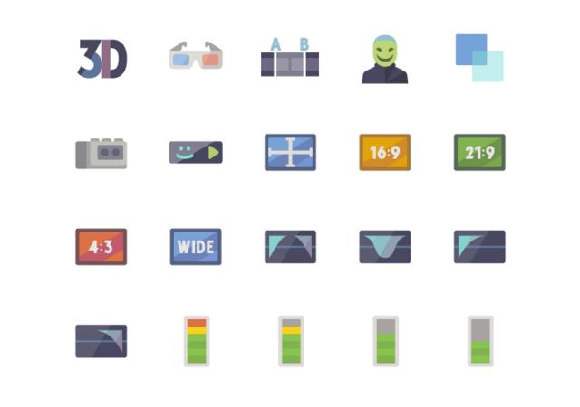 5K Media & Video Production Flat Icons Set
