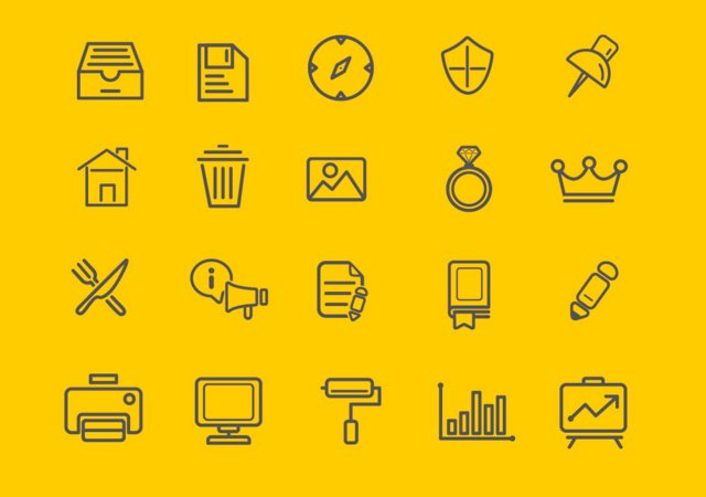 Free Outline Vector Icons Set