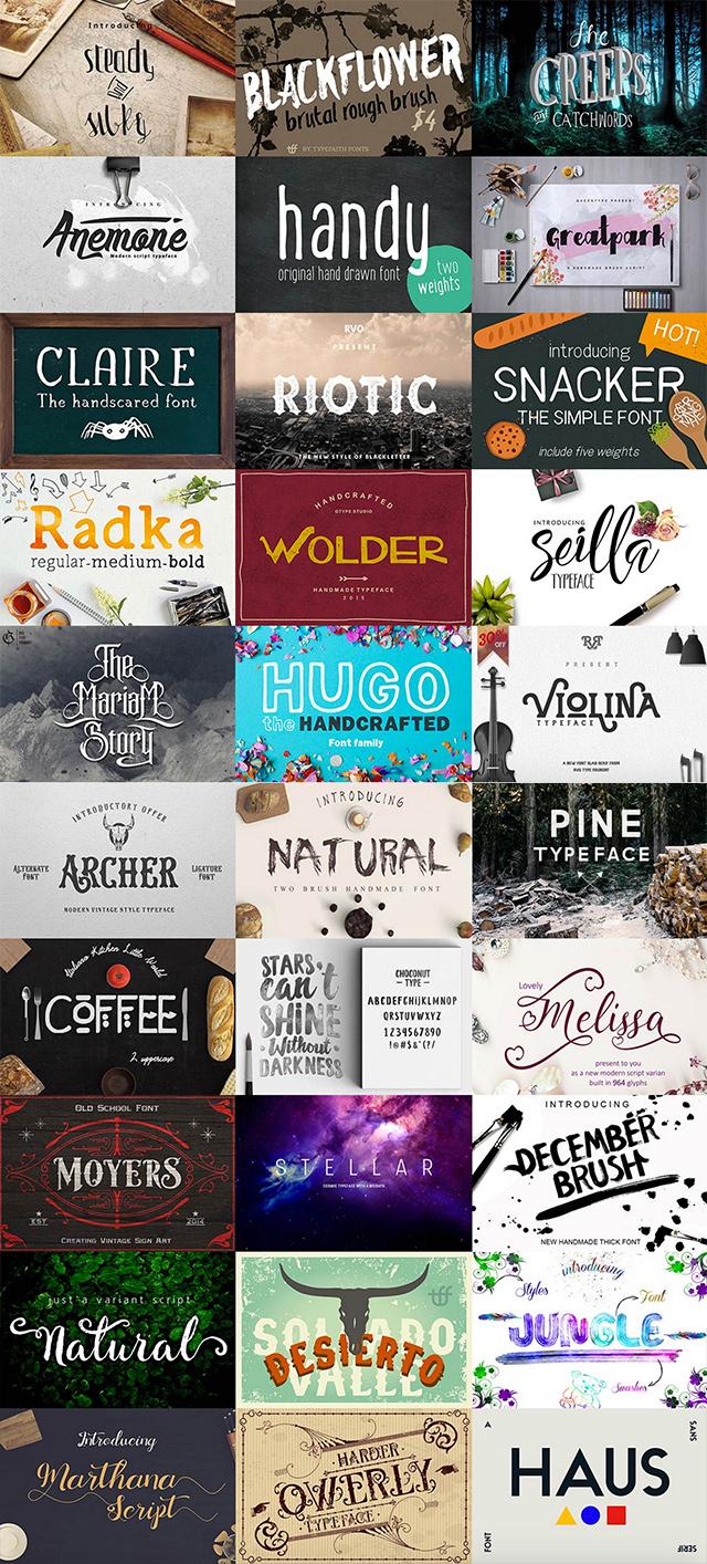 Logo & Lettering Font Bundles 95% Off!