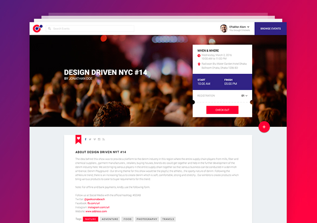 Event360:  Material Design Events Web PSD Template