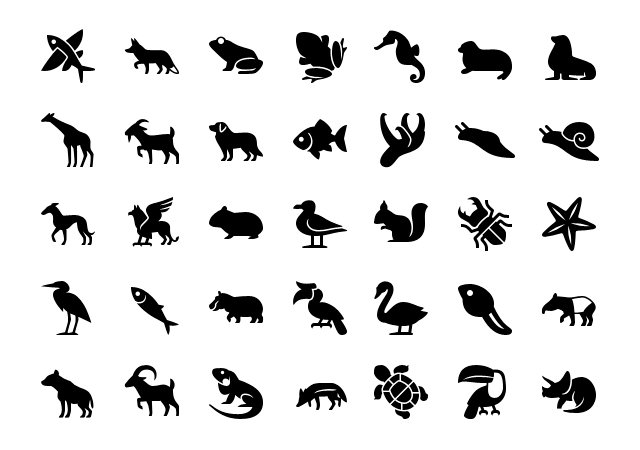 Filled iPhone Animal Icons Set