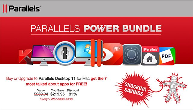 Parallels Power App Bundle - Save 81% on 7 Top Mac Apps (Parallels, 1Password, CleanMyMac 3, Hider and more)