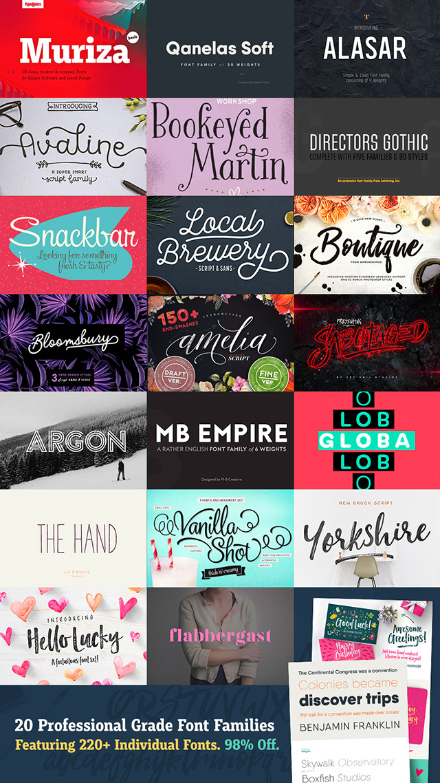 20 Phenomenal Font Families at 98% Off!