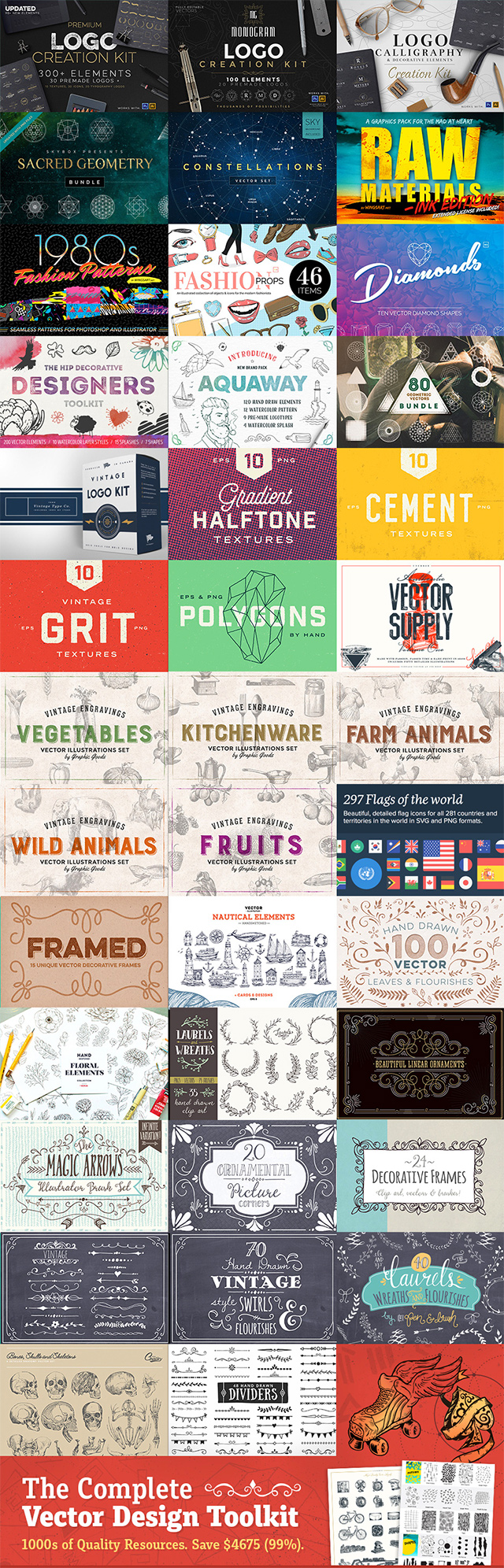 HUGE Vector Design Toolkit: 1000s of Quality Resources for $29 (98% Off)