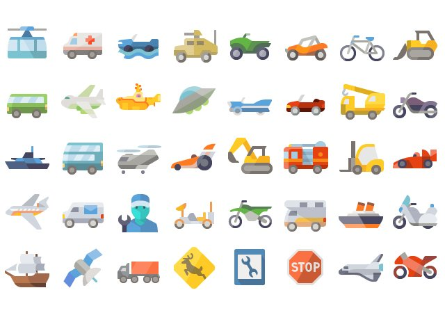 Amazing Flat Transport Icons Collection