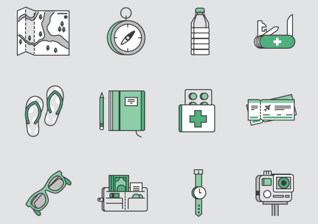 Travel Kit SVG Icons Set