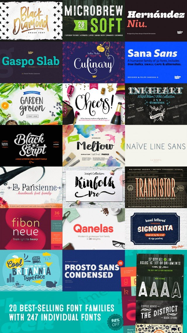 20 Best Selling Fonts from DesignCuts