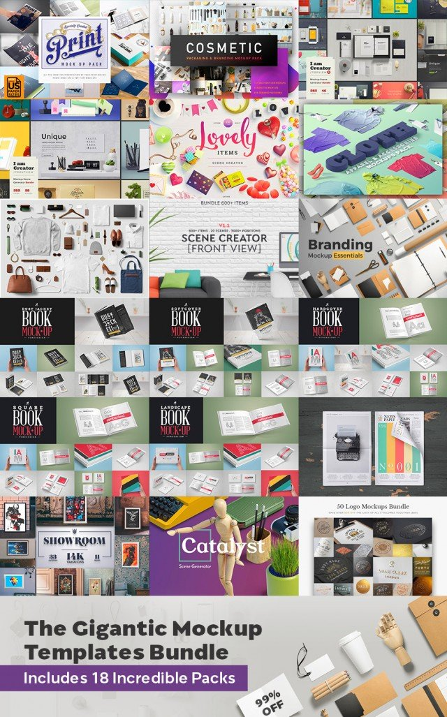 The Gigantic Mockup Templates Bundle - 99% Off