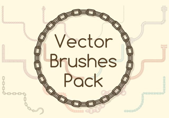 Amazing 50 Flat Style Material Vector Brushes Pack