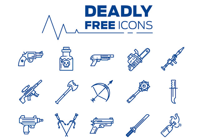 Deadly Icons: Line Style Weapon Icons Set
