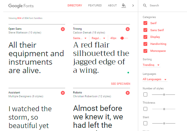Google Fonts Page Redesign