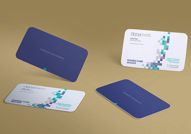 Gravity Business: Amazing Flying Business Cards Mockup