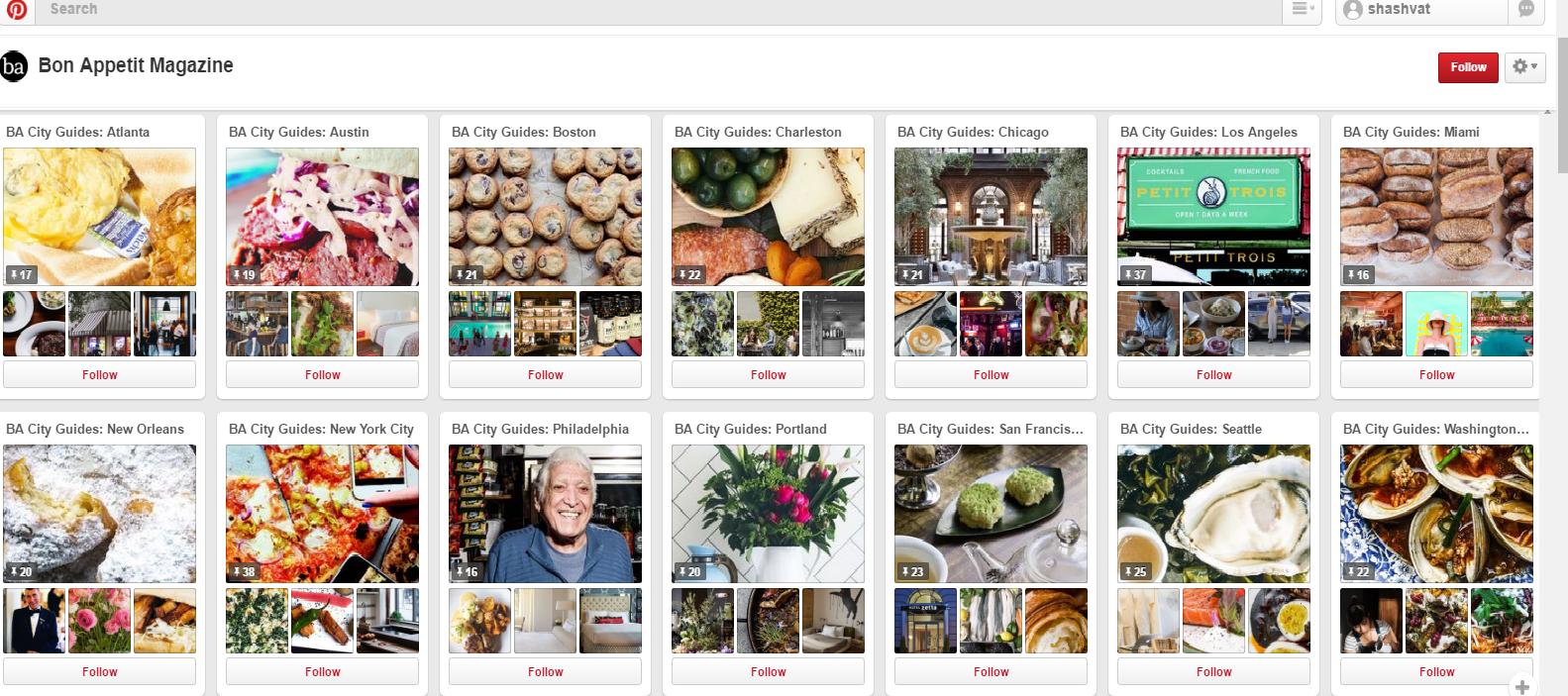 Bon Appetit Magazine Pinterest Board