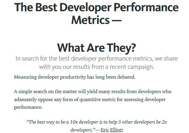 The Best Developer Performance Metrics