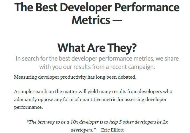 The Best Developer Performance Metrics