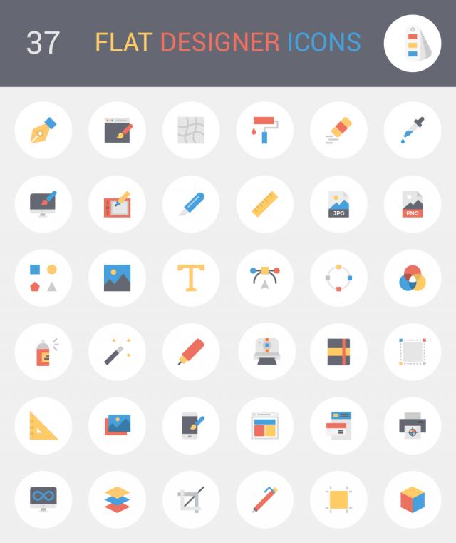 Flat Designer Icons Vector Pack Bundle