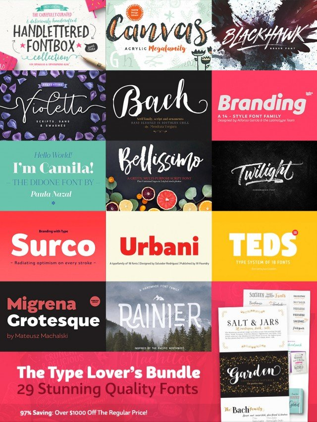 The Type Lover's Bundle: 29 Stunning Quality Fonts & Extras