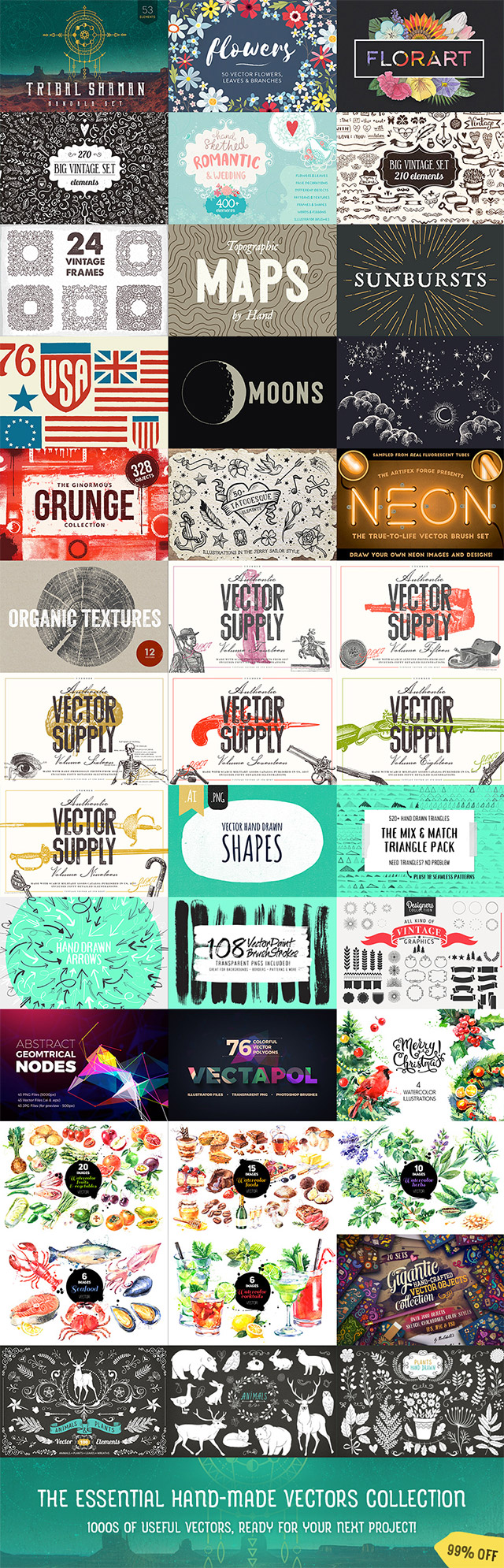 Essential Hand-Made Vectors That You'll Use For Years To Come: 99% Off
