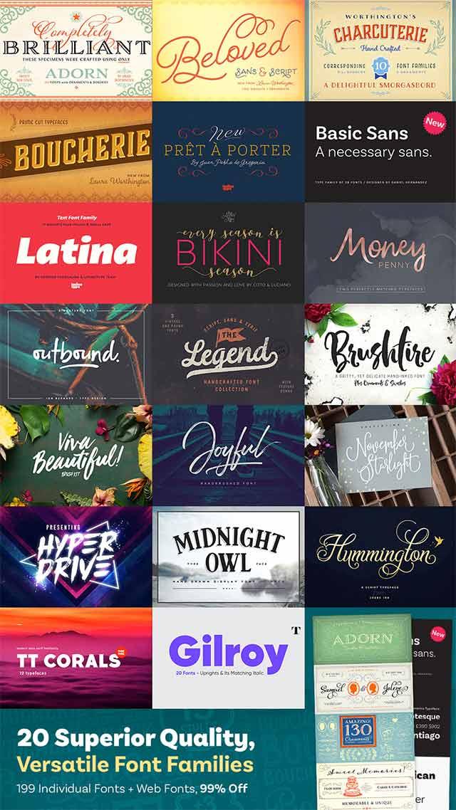 20 Versatile Font Families Design Bundle for $29