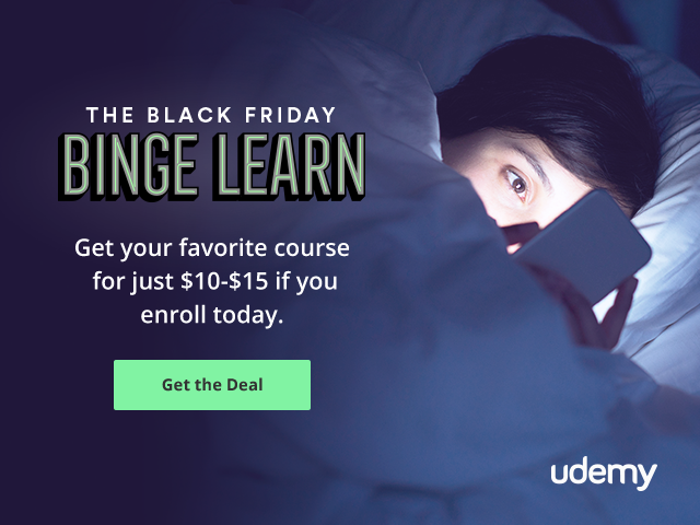 Udemy 'Black Friday' Week Long Sale - Courses Just $10!